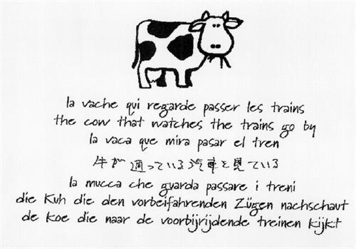 La vache qui regarde passer les trains & dessin (7 langues)