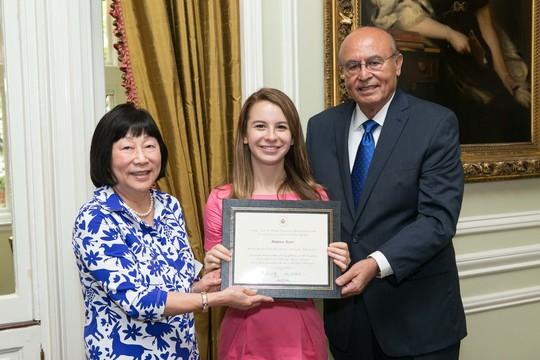 Ambassador Julia Chang Bloch, Madeline Bauer and Ambassador Abelardo L. Valdez