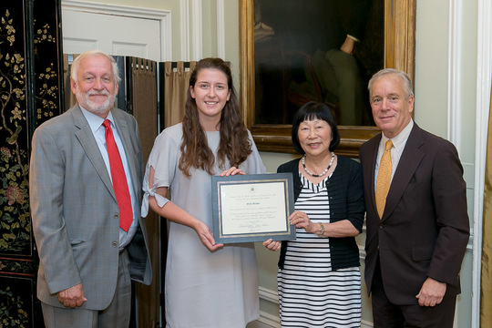 Ellen Beahm Receives Her Certificate from Ambassadors Julia Chang Bloch, Timothy Chorba and Thomas Siebert