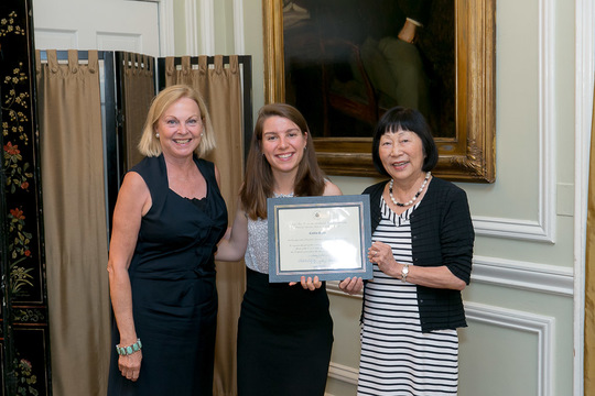 Caitlin Quinn receives her Certificate from Ambassadors Bloch and Fulton