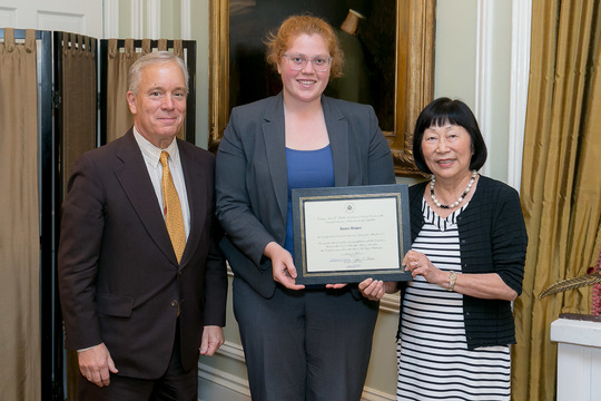 Amelia Wagner receives her Certificate from Ambassadors Bloch and Siebert
