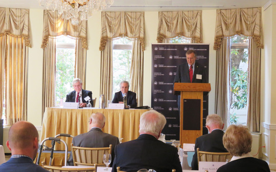 Ambassador G. Philip Hughes begins the Council's Contentious Neighbors Spring Conference with a call to order.