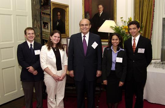 Ambassador Abelardo L. Valdez and Class of 2006 Fellows Evan Hill, Meghan Mahoney, Aisha Sabar and James Madsen