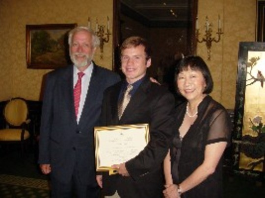 Class of 2006 Fellow Evan Hill with Ambassadors Timothy A. Chorba and Julia Chang Bloch