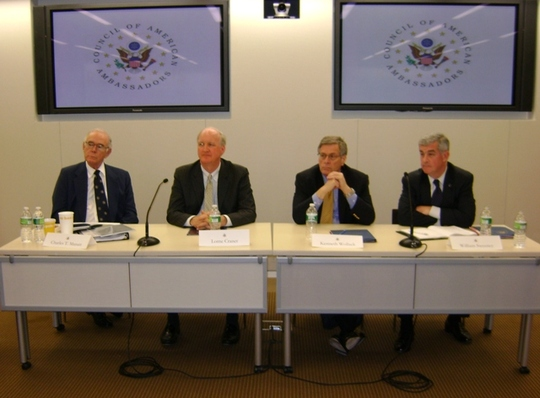 May 3 Democracy Panel: CAA President Ambassador Charles T. Manatt, President of IRI Lorne Cramer, President of NDI Kenneth Wollack and President of IFES William Sweeney