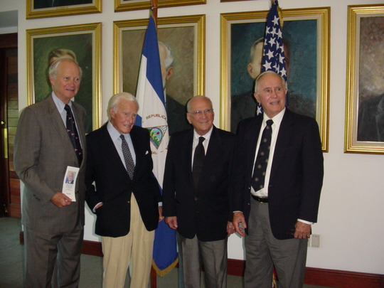 2006 Mission to Venezuela, Colombia and Nicaragua: Ambassadors Bruce S. Gelb, Robert D. Stuart, Jr. and Leon J. Weil with Nicaraguan President Enrique Bolanos