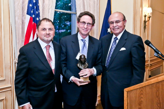 May 6, 2013 Awards Ceremony and Reception: Donald and John Kimelman Accept the Benjamin Franklin Award on Behalf of their Father, the late Ambassador Henry L. Kimelman. Photo credit: Tony Powell