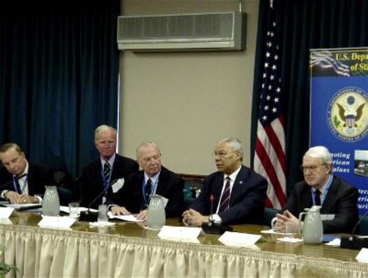 Spring 2004: Ambassadors Ogden Reid, Joseph Verner Reed, Keith L. Brown, Secretary of State Colin Powell and Ambassador William J. vanden Heuvel