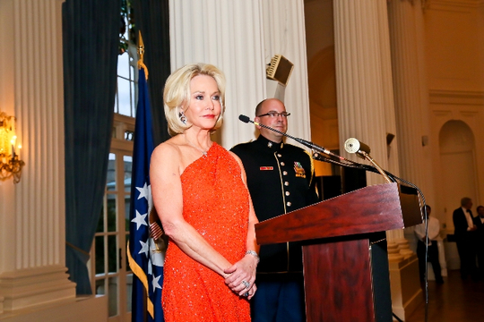 30th Anniversary Gala: Ambassasdor Mary M. Ourisman and Anthem Vocalist Master Sergeant Nathan Sommers. Photo credit Tony Powell