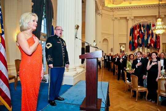 30th Anniversary Gala: Master Sergeant Nathan Sommers Sings the National Anthem. Photo credit Tony Powell