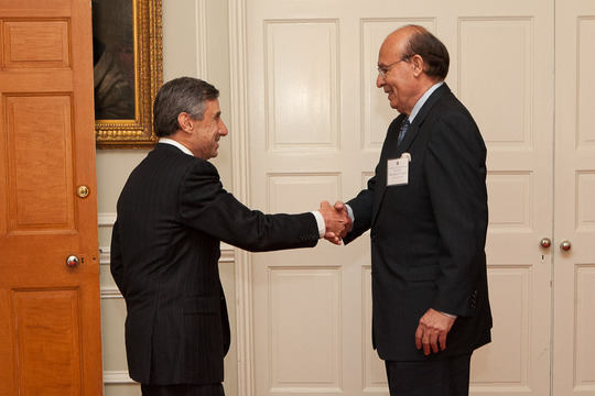 Ambassador Paul Russo and Ambassador Abelardo Valdez at the Class of 2013 Fellows' Welcome Event. Photo credit Jenifer Morris Photography