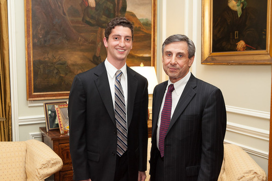 Joshua Rubin, Class of 2013, and his mentor, Ambassador Paul Russo. Photo credit Jenifer Morris Photography