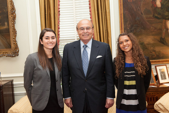 Courtney Ready and Natalie Siddique, Class of 2013, and their mentor, Ambassador Abelardo Valdez. Photo credit Jenifer Morris Photography