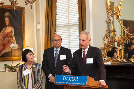 Ambassador Julia Chang Bloch and Ambassador Abelardo Valdez, Fellowship Program Co-Chairs, and Ambassador Hans Klemm (at podium) of the Department of State. Photo credit Jenifer Morris Photography