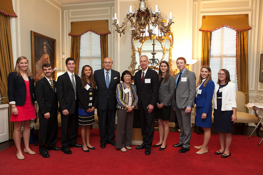 Ambassador Hans Klemm (center) and the Class of 2013 Fellows and their Ambassador-mentors. Photo credit Jenifer Morris Photography