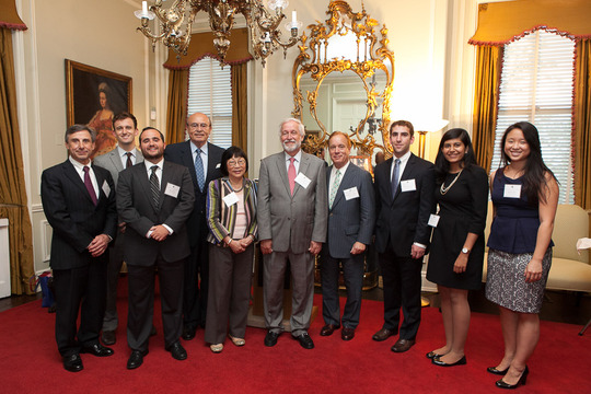 Council President, Ambassador Timothy A. Chorba (center), with his Ambassador-mentor colleagues and Alumni Fellows, who will serve as peer mentors for the Class of 2013. Photo credit Jenifer Morris Photography