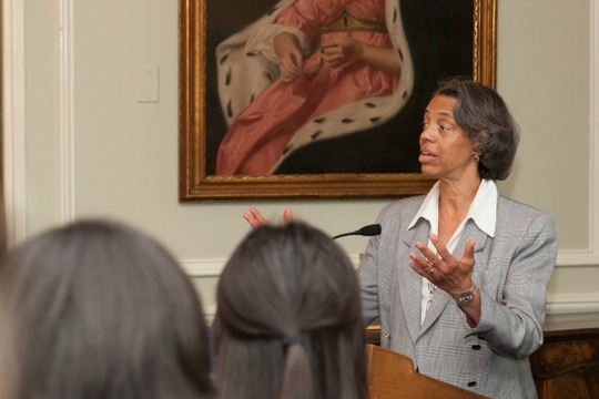 Deputy Assistant Secretary of State Marcia Bernicat addresses the Fellows