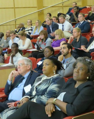 Ambasssador John Campbell, Ms. Rosa Whitaker, Assistant Secretary of State Linda Thomas-Greenfield and students watch Dr. Eisenman's presentation.