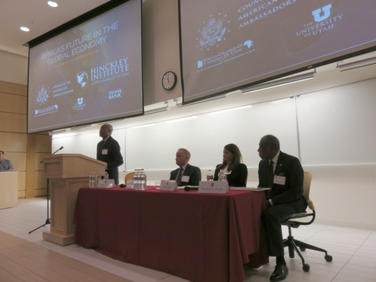 Ambassador Delano E. Lewis, Sr. moderated a panel featuring Mr. James Sorenson, Ms. Laura Geritz and Mr. Marshall N. Wright.