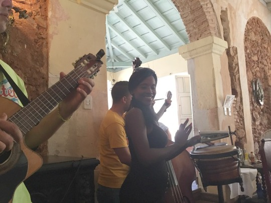 Music group performs at Sol Ananda, a paladar in Trinidad, Cuba