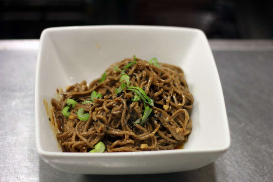 Sesame sauce noodles with black sesame seeds
