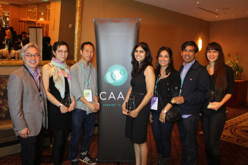 The CAAMFest Award winners.  From Left: Excecutive Director Stephen Gong, Elizabeth Lo, Tony Nguyen, Puja Maewal, Meera Simhan , Ravi Kappor, and Ursula Liang