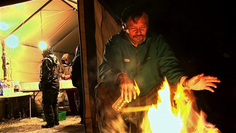 Kouy Loch in the mushroom hunters temporary camp in Chemult, Oregon.