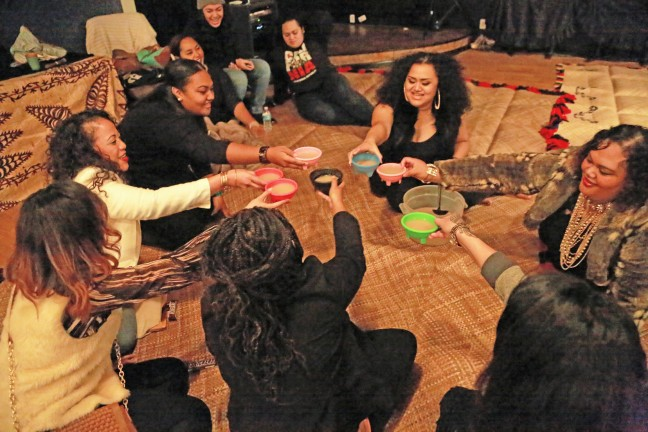Members of the Bay Area Tongan and Samoan women's kava club Kalapu Mofisi. Photo by Jean Melesaine courtesy of the Oakland Museum of California.