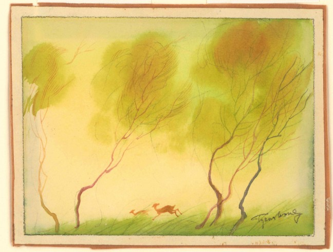 "Bambi in the spring. Concept art for Disney's ""Bambi"" by Tyrus Wong."