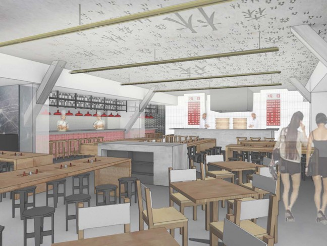 A rendering of the China Live market dining area.