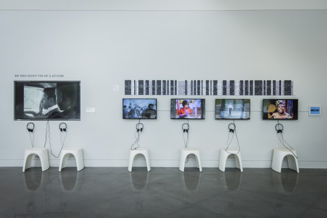 Installation view of Bay Area Society for Art & Activism in Take This Hammer: Art + Media Activism from the Bay Area, Yerba Buena Center for the Arts, 2016. Courtesy Yerba Buena Center for the Arts. Photo by Charlie Villyard.