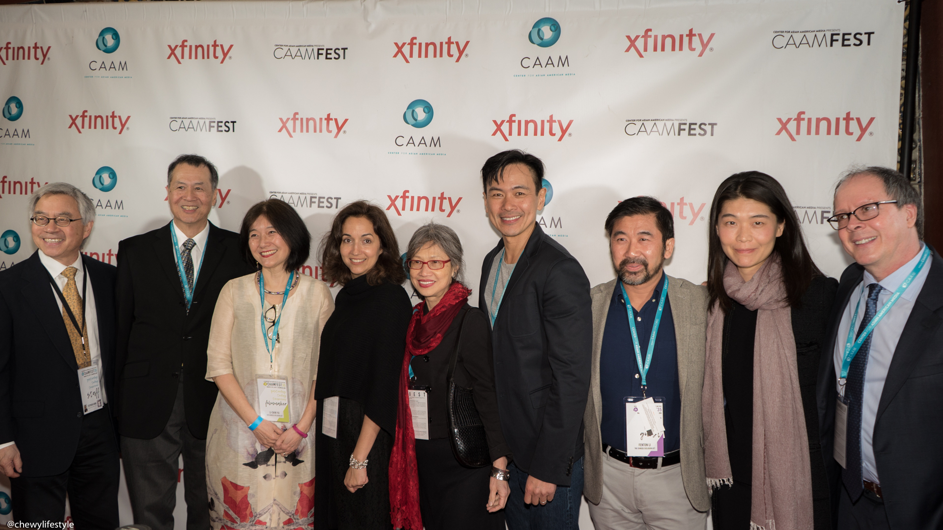 "CAAM's Executive Director Stephen Gong and the cast and crew of ""THE CHINESE EXCLUSION ACT"" documentary on the red carpet at the Castro Theatre on March 19, 2017."