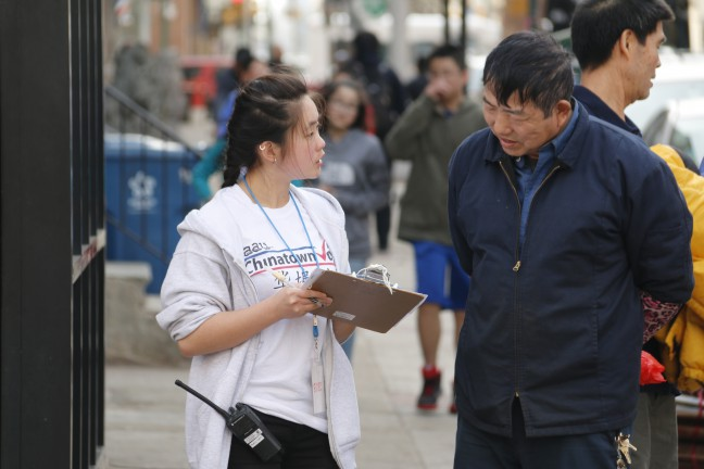 Asian Americans United in Chinatown tabling for the 2015 primary.