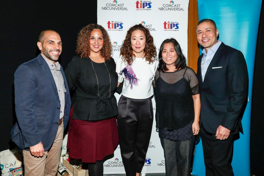 "Panelists at ""Expanding the Conversation: Asian Americans in Media"" on Nov. 2 in Los Angeles. Left to right: producer/writer Rashad Raisani, NBCUniversal executive Karen Horne, actress Sandra Oh, filmmaker Grace Lee, and NBCUniversal Executive Craig Robinson. Photo by Rich Polk/Getty Images."