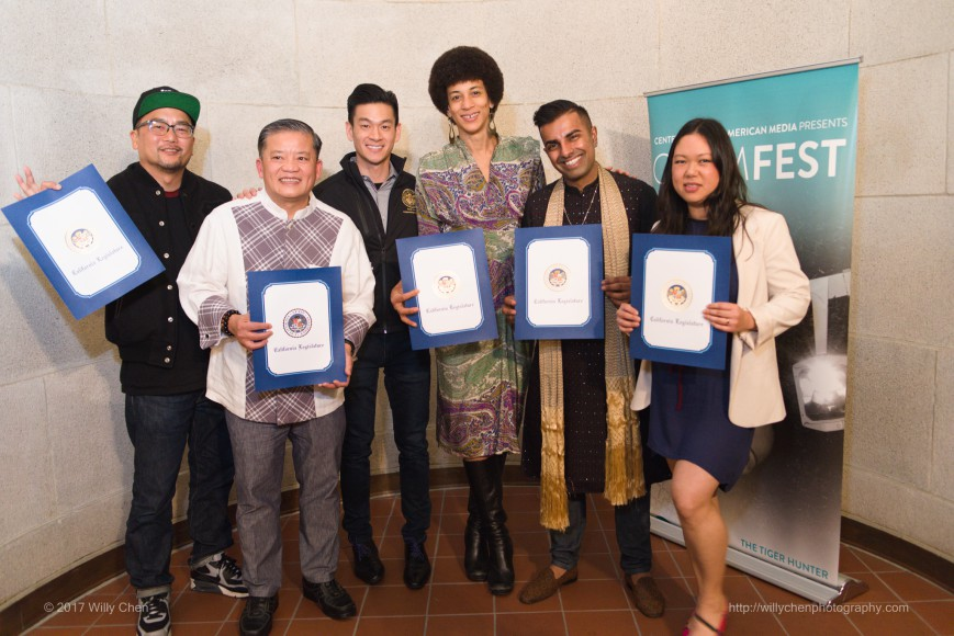 CAAMFeast 2017 honorees with CA State Assemblyman Evan Low. L-R: Chef Roy Choi; Chef Khai Duong of Asian Chefs Association and Khai Restaurant; Evan Low; Jocelyn Jackson, Saqib Keval and Sita Kuratomi Bhaumik of The People's Kitchen Collective. Photo by Willy Chen for CAAM.