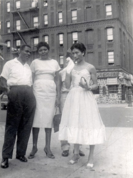 145th Street in Harlem -- Cousin George Barnes, Paula Madison's dad's first cousin, who sometimes rented a room in their small apartment. He was the only relative she consistently saw and he protected and loved us. Madion's Mom, right, holding the handkerchief. She likely made her beautiful dress.