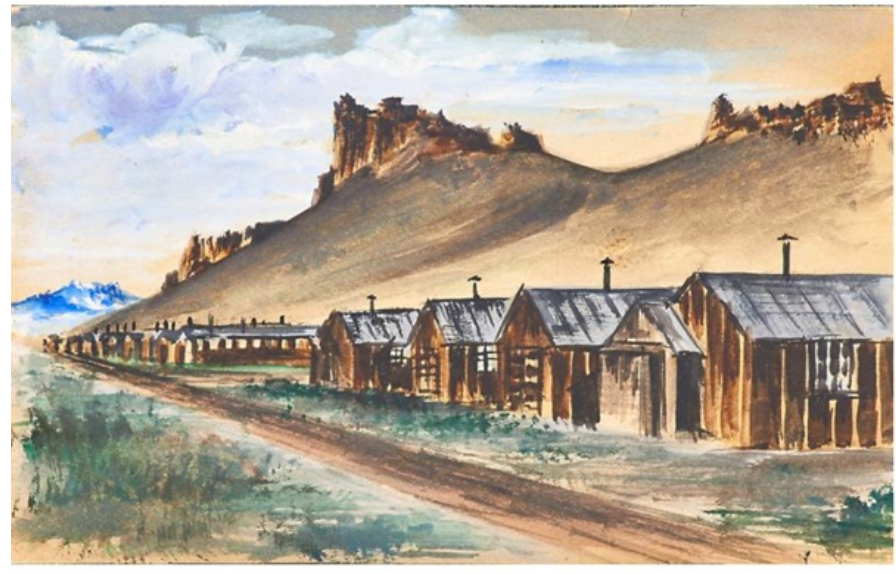 Watercolor by George Tamura, a teenager held at Tule Lake. This work was rescued from being sold at the Rago auction in 2015. Courtesy Japanese American National Museum.