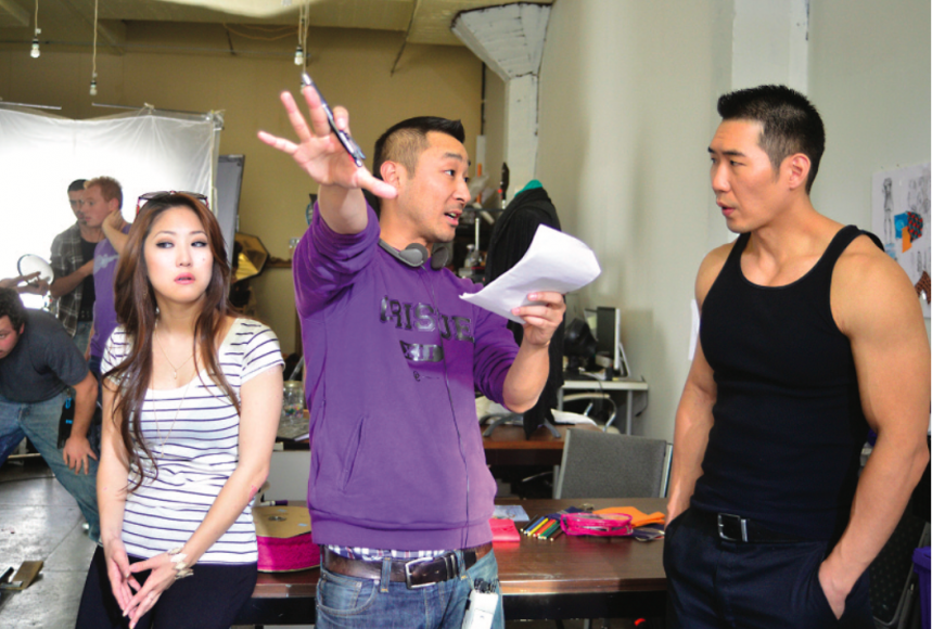 Dpd and Peter Jae on the set of KTOWN COWBOYS. Photo courtesy of Transparent Agency.