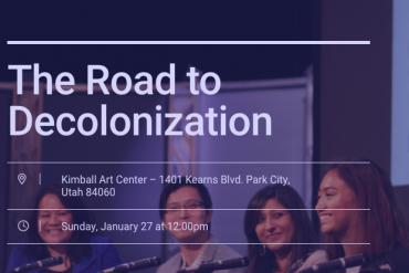 "A photo in the background includes several young and diverse Asian Americans on a panel. The words ""The Road to Decolonization"" is overlaid onto the image."