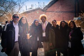 """A group of diverse individual media makers and CAAM staff, board members, and panelists of """"The Road to Decolonization"""" panel at Sundance 2019."""