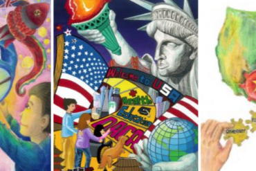 "A triptych of artwork created by students for the Growing Up Asian in America contest. The artwork is colorful and features a young Asian American boy on the left panel lighting up a paper lantern; the middle panel includes an image of the Statue of Liberty and the words ""health,"" ""education,"" and ""DACA""; the right panel has a map of the U.S. with cogs of a wheel and one of the pieces is ""diversity."""
