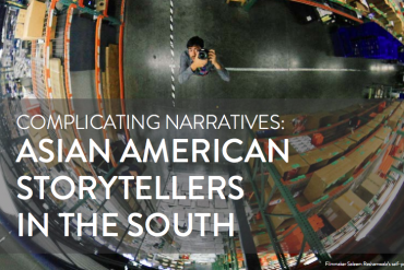 """A fisheye lens photo of a mixed race Asian American man looking up at the camera, with the words """"Complicating Narratives: Asian American Storytellers in the South."""""""