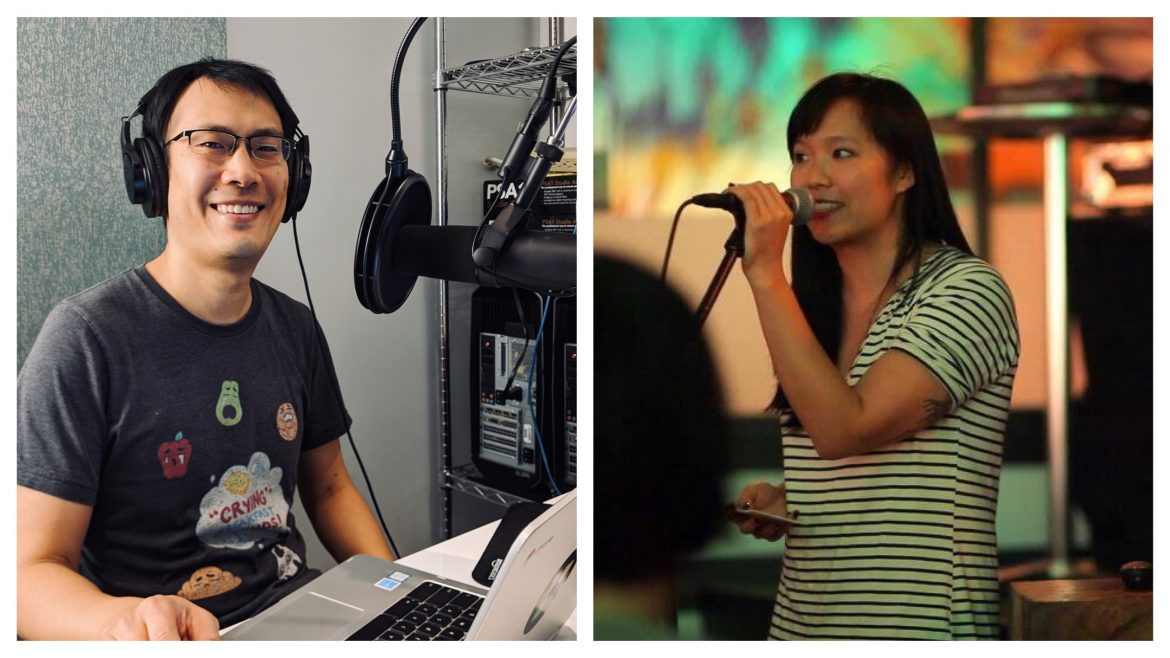 An Asian American man sits in front of a speaker recording a podcast. A woman on the right speaks into a microphone with a smile.