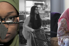 A triptych of three young Muslim American girls wearing hijabs who are filmmakers part of the Muslim Youth Voices Project.