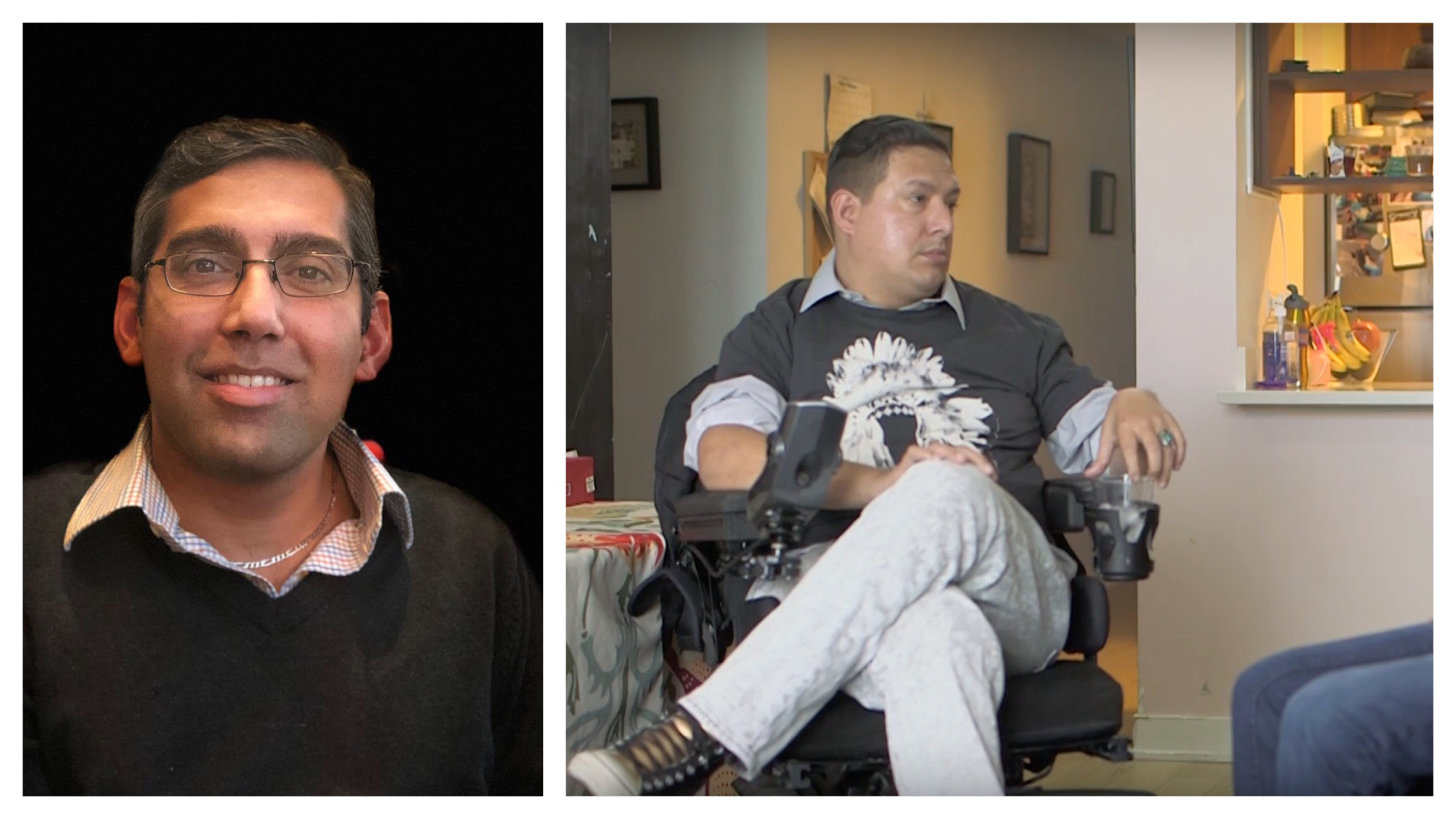 A photo of a disabled man, Jason DaSilva, on the left, and a subject of his documentary, When They Walk, on the right.