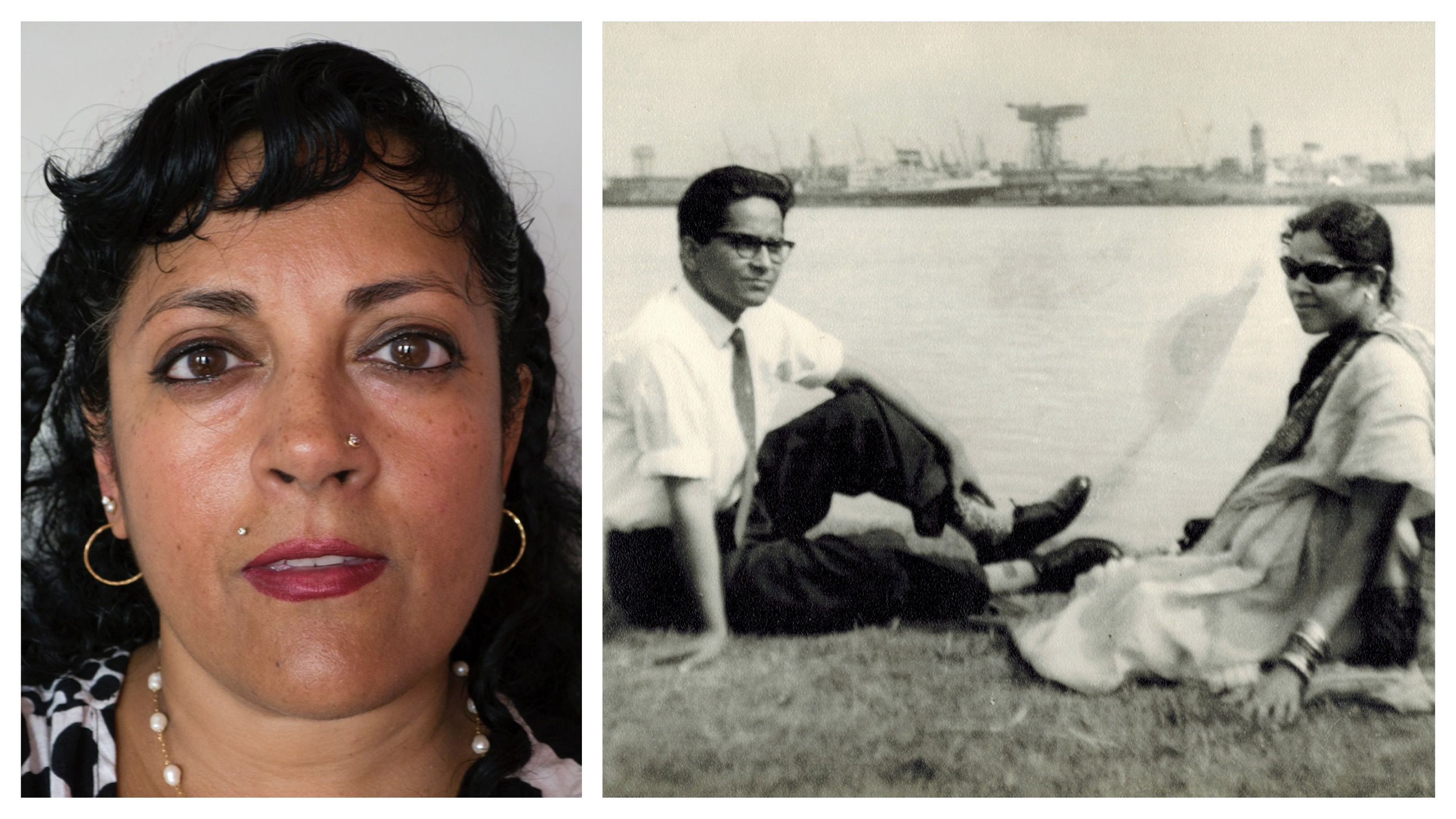 A South Asian American woman is on the left of the picture; on the right is a black and white photograph of an Indian couple sitting on the grass casually along a waterfront.