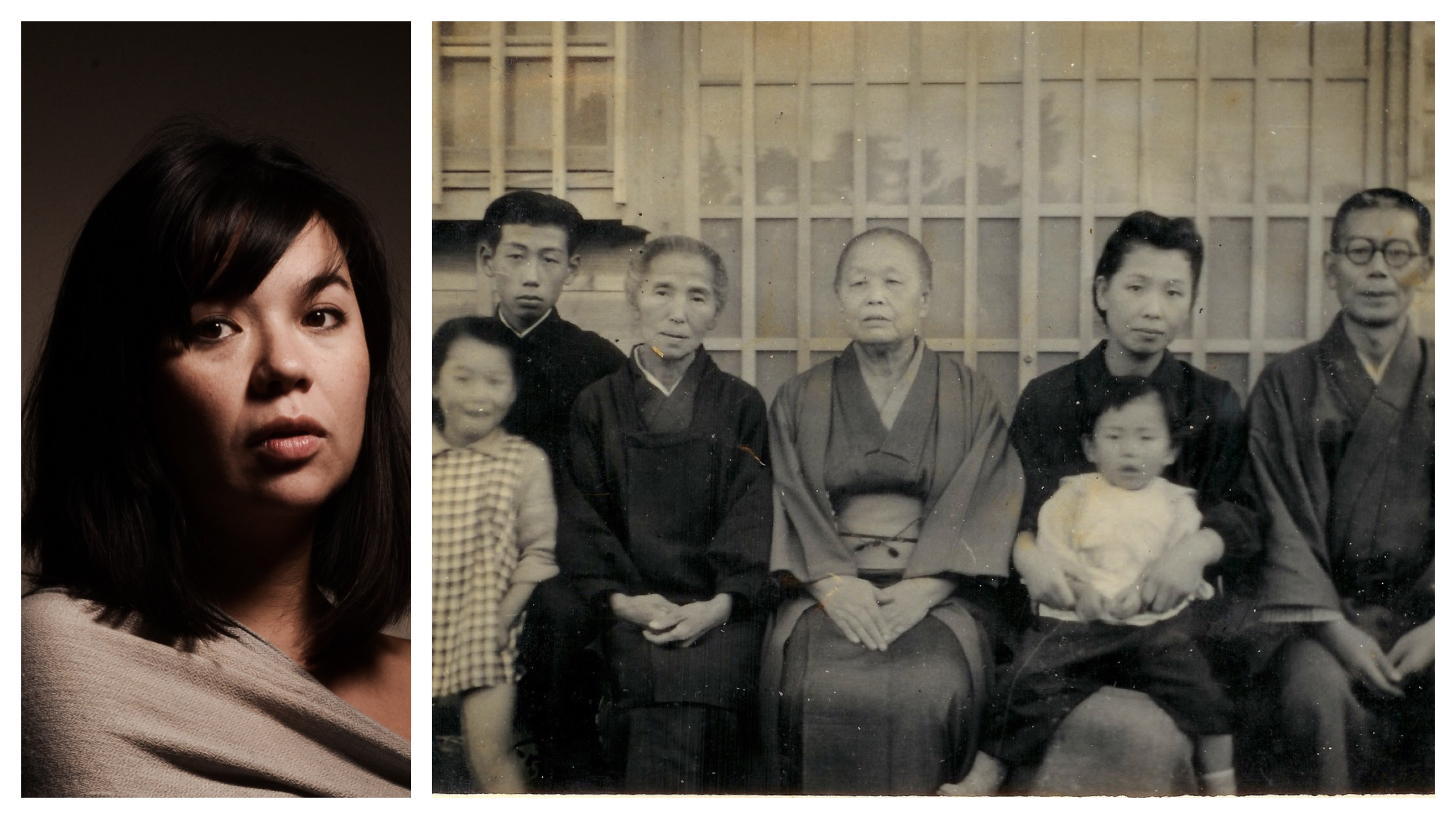 A young mixed race Asian American woman sits for a dramatically lit portrait; the right side of the image is an old family photo in black in white.