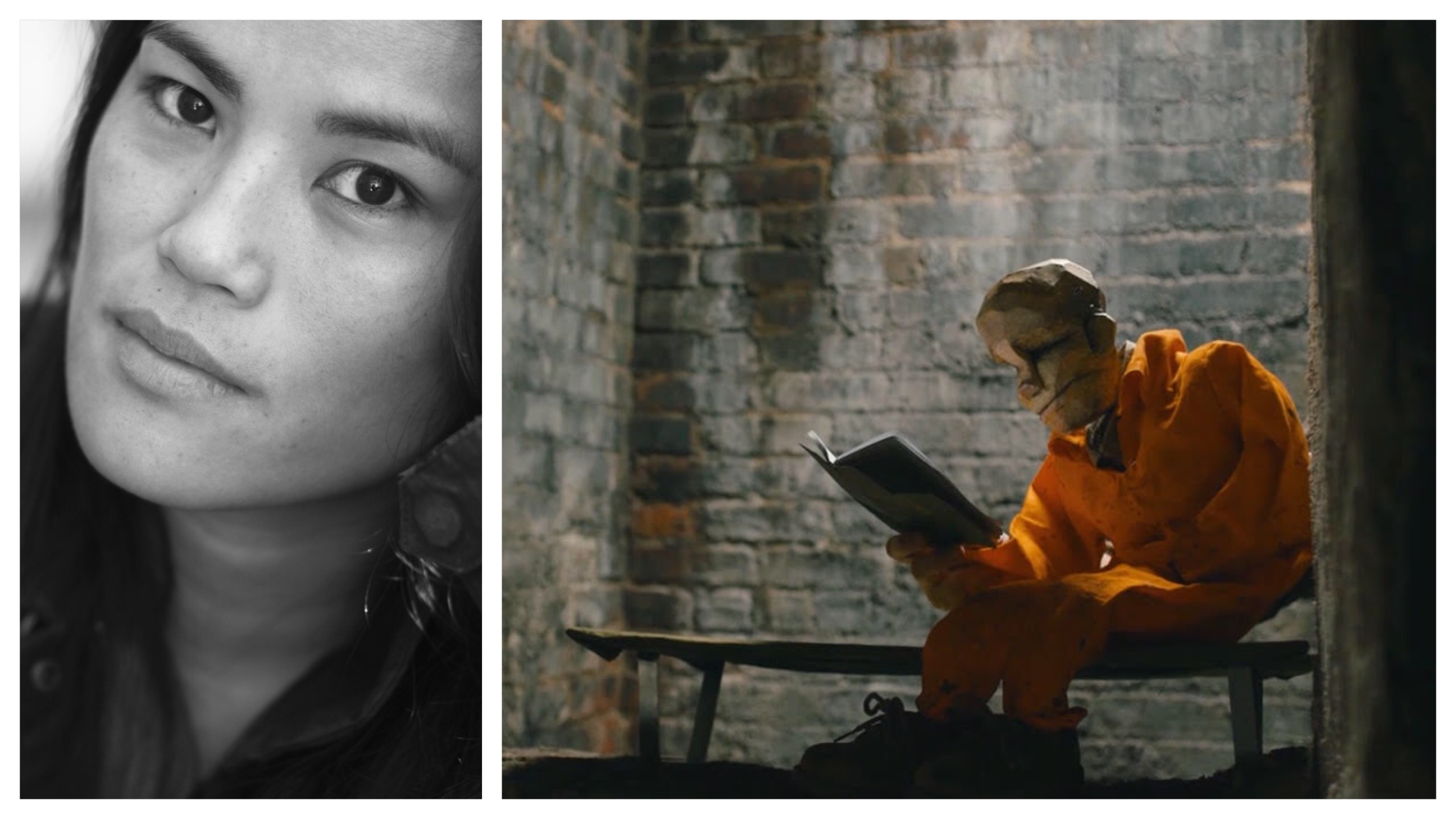 A mixed race Asian American woman looks into the camera in a close up black and white portrait; on the left is a still of an animated man wearing an orange jumpsuit inside a prison reading a book.