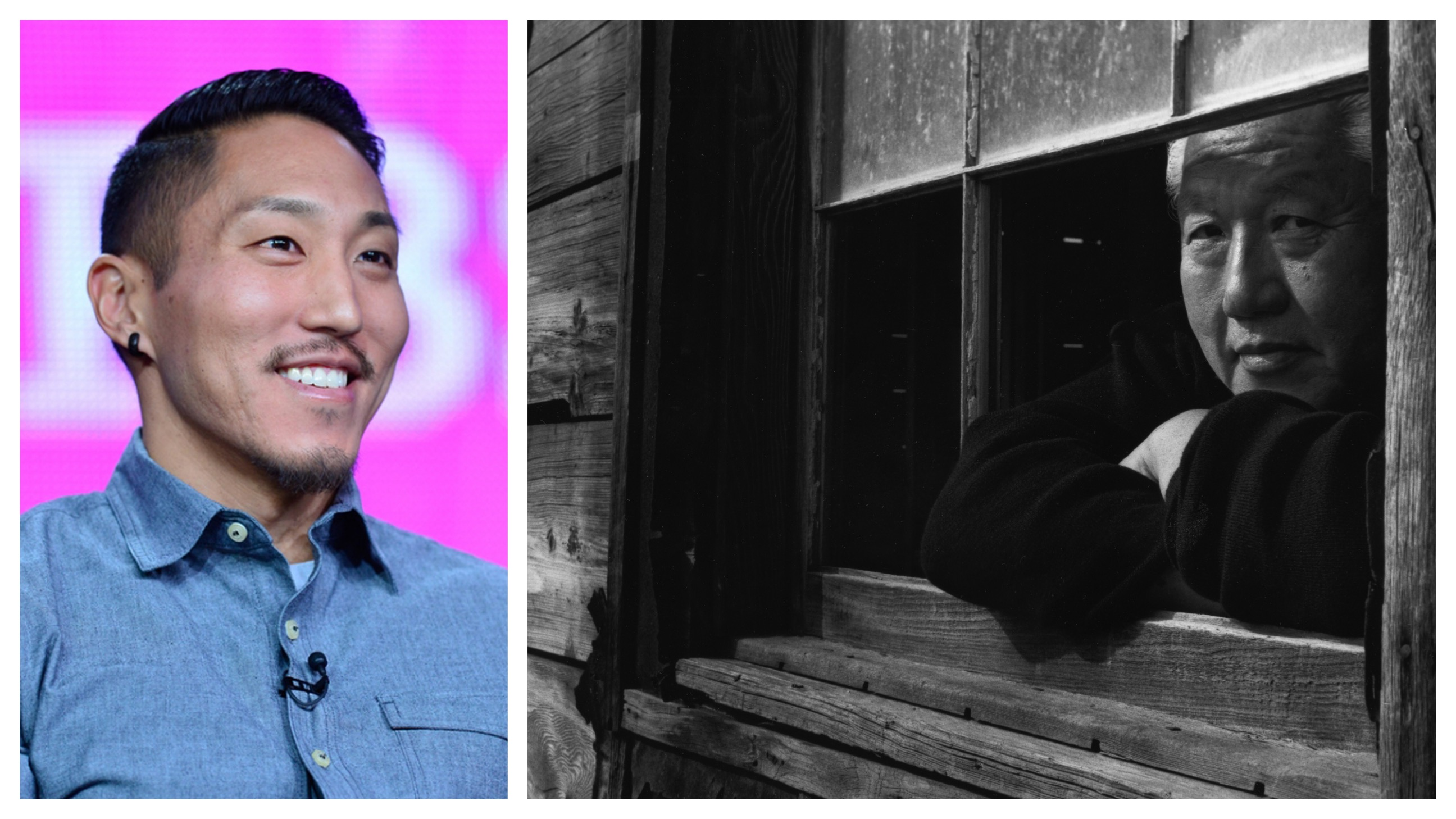 A Japanese American man smiles on the left; on the right is a black and white image of an older Japanese American man looking through a window.