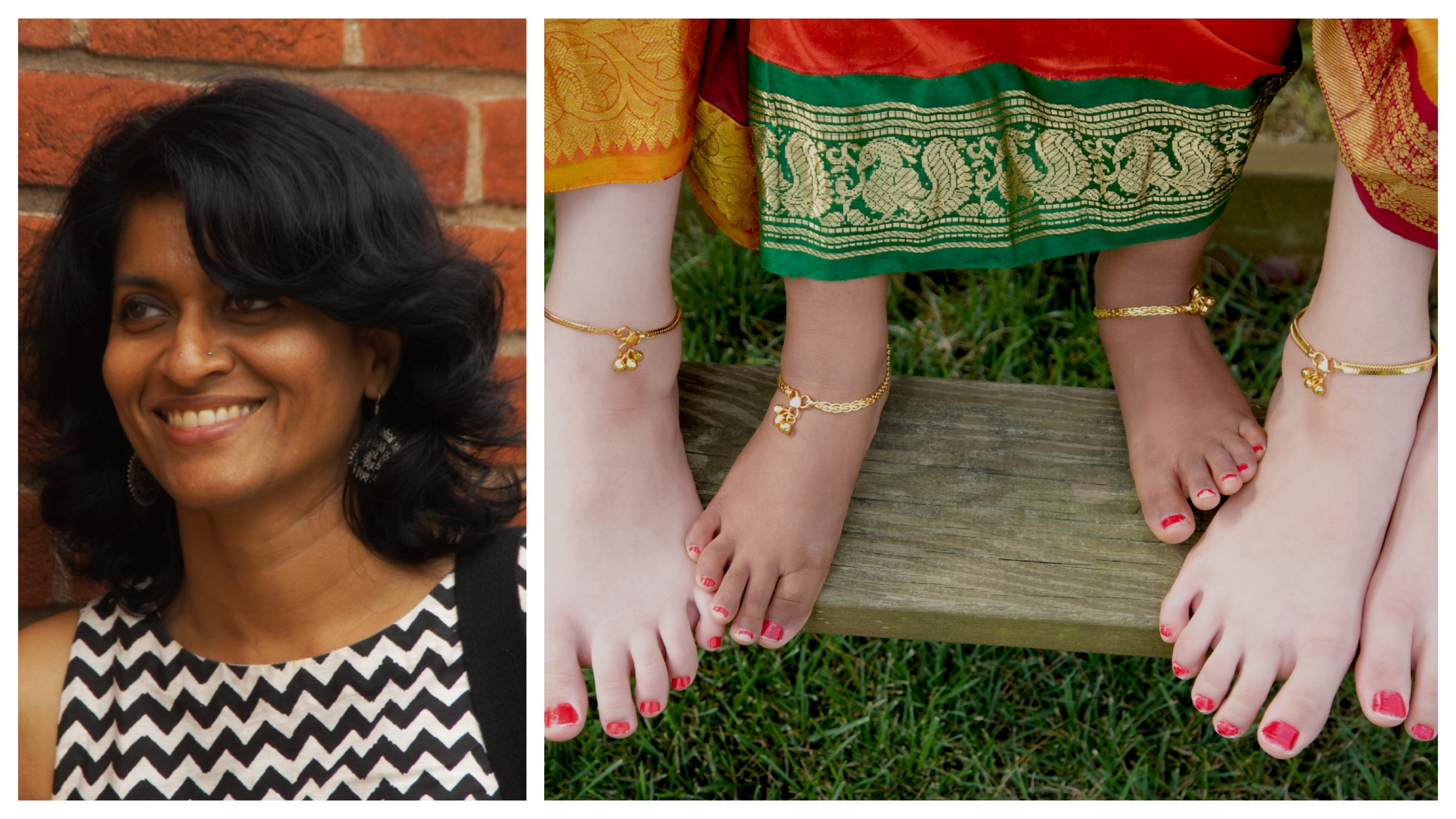 A South Asian woman with short curly hair looks off camera on the left; on the right is an image of girls' feet with brown and pale skin tones, wearing saris.